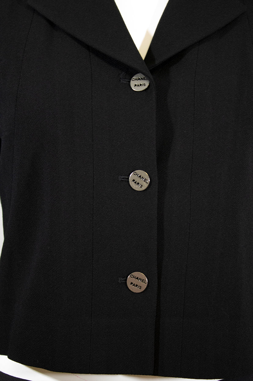 'Sold' CHANEL 00C Black Wool Notched Lapel Logo Button Cropped Blazer Jacket France 38