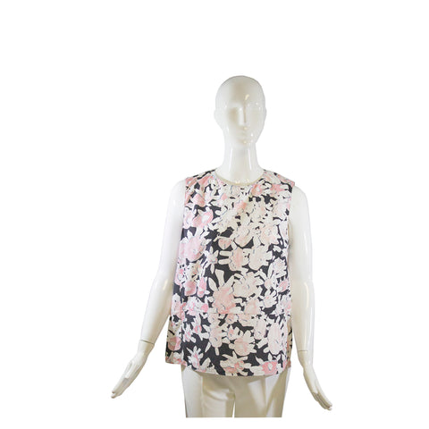 MARNI Black Pink White Floral Print Cotton Sleeveless Back Zip Blouse Top IT 44
