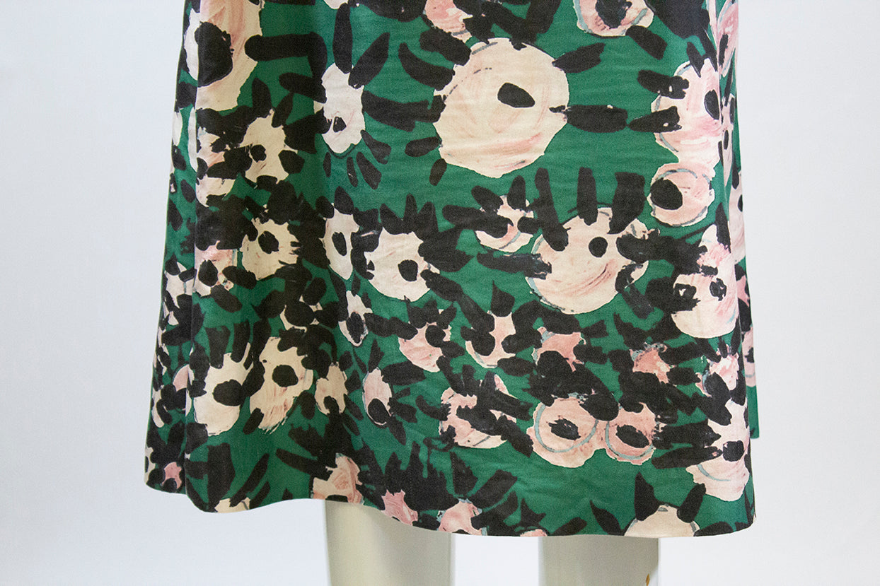 MARNI Green Pink Black Floral Print Back Zip Cotton Silk Blend A-Line Skirt 42