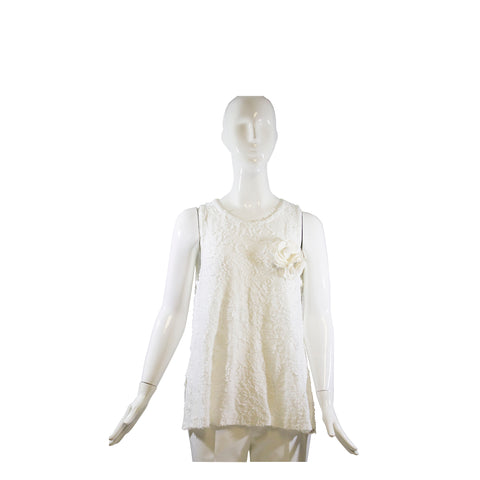 CHANEL 15C Paris Dubai White Camellia Pin Sleeveless Cotton Fil-Coupé Top 40 FC