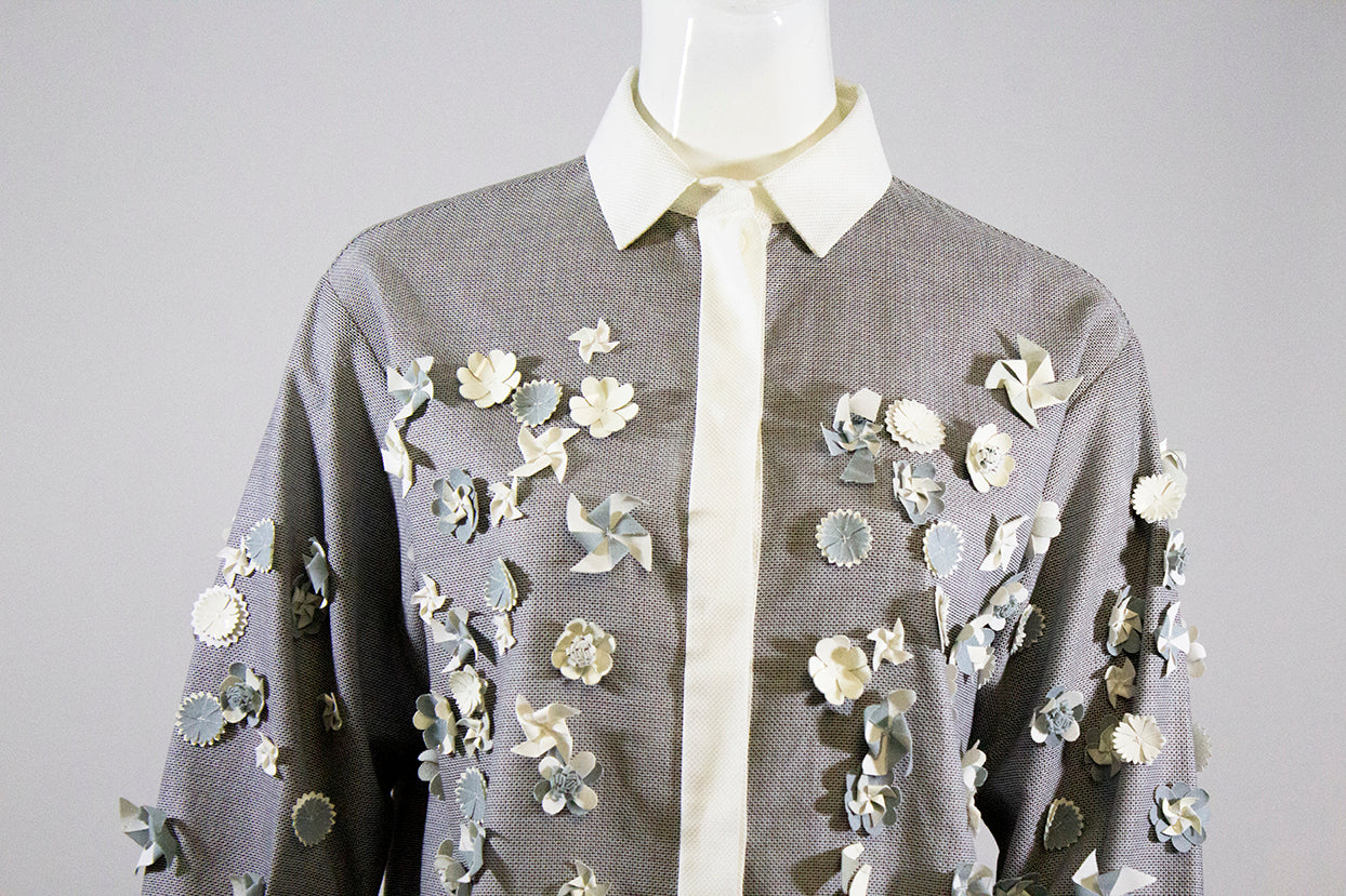 'Sold' CHANEL 13S Blue Gray White Cotton Windmill Floral Applique Button Down Blouse 38