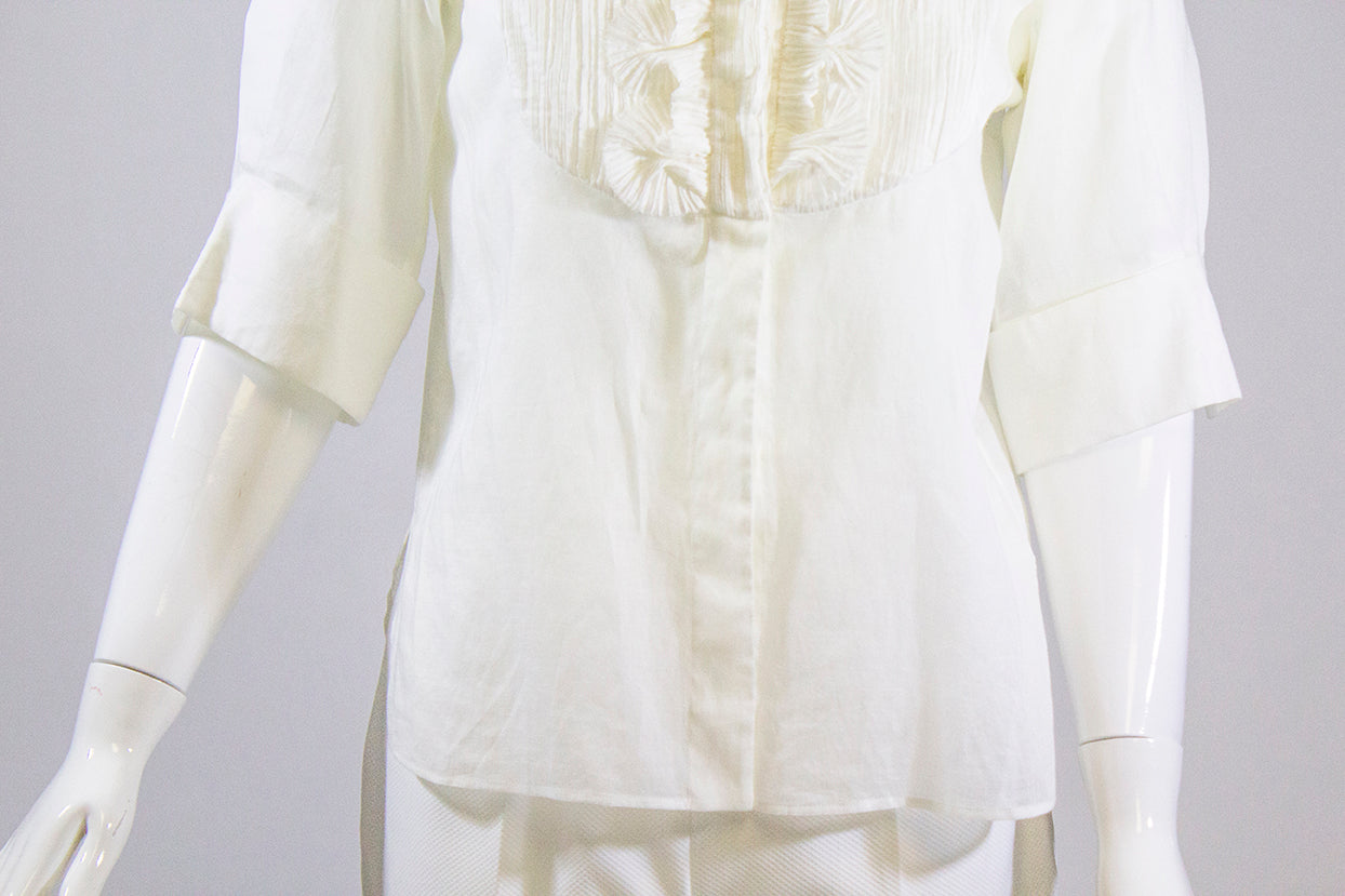 CHANEL 12C Ivory White Cotton Silk Trim Faux Pearl Crystal Button SS Blouse 38