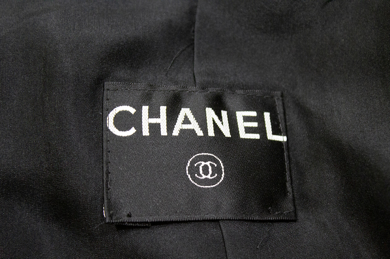 CHANEL 06P Black Cotton Silver Military Chain Bottle Cap Blazer Jacket 36 S GUC