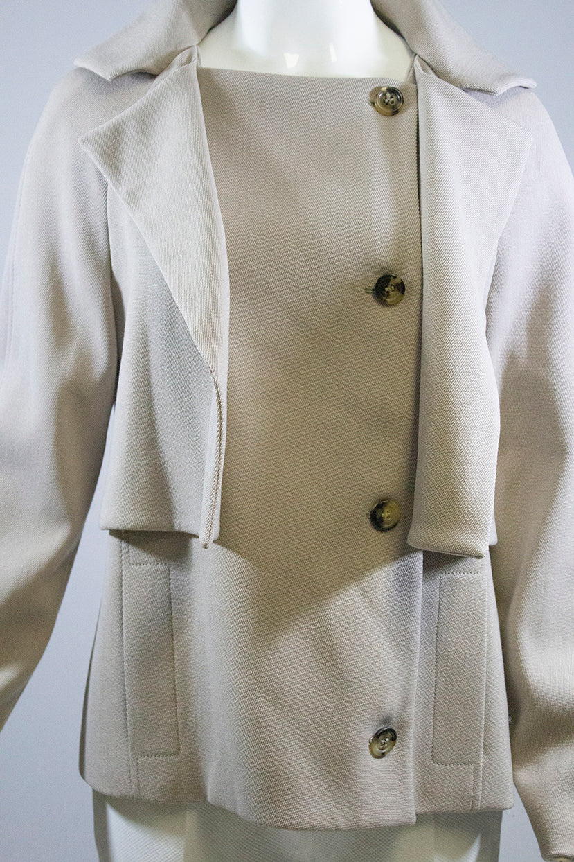 CIVIDINI Beige Tan Overlay Panel Front Button Wool Knit Blazer Jacket IT 44 GUC