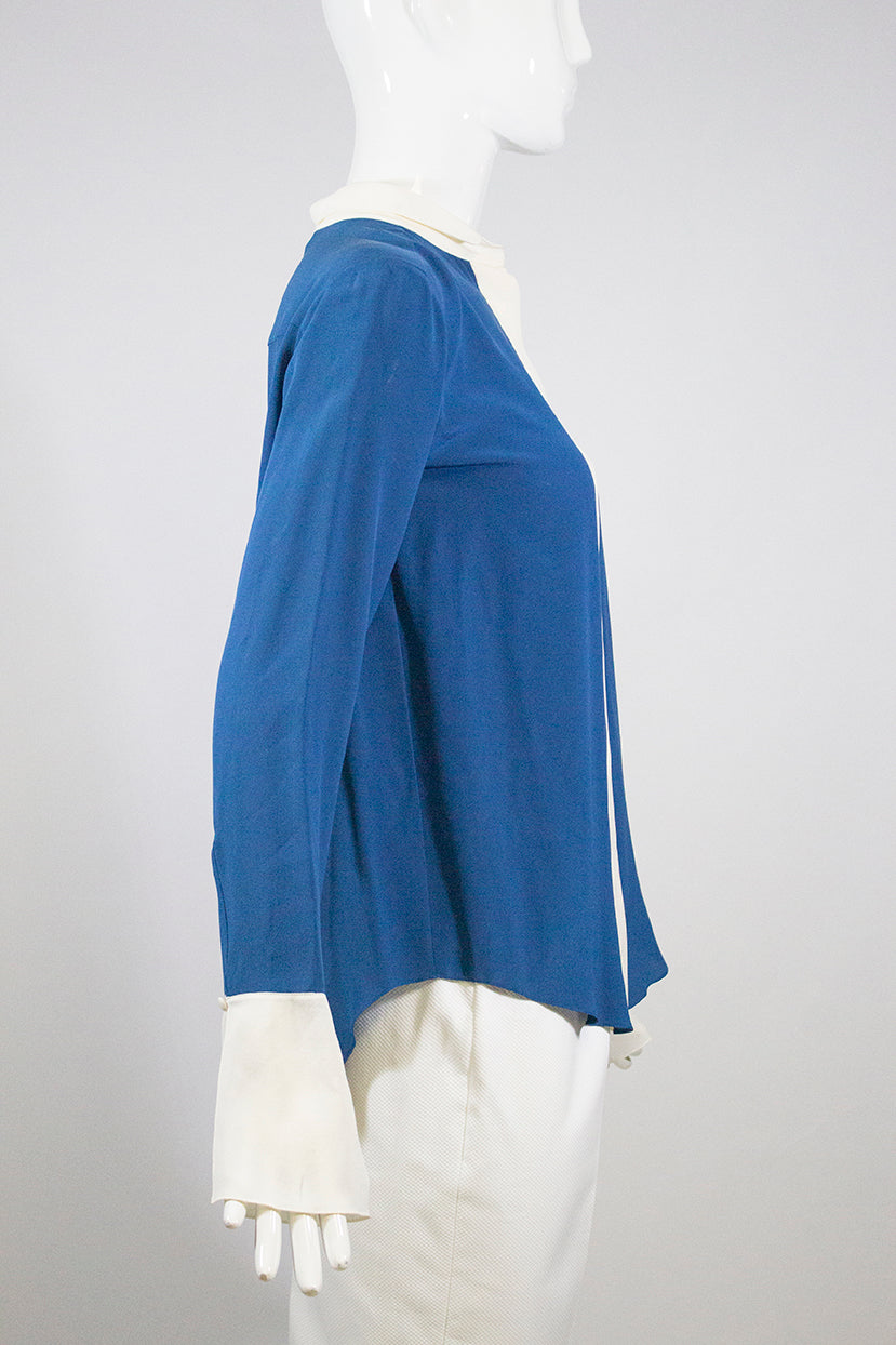 $895 CHLOE 14A Ocean Blue Ivory Creme Split Bell Sleeve Silk Blouse Top FR 36