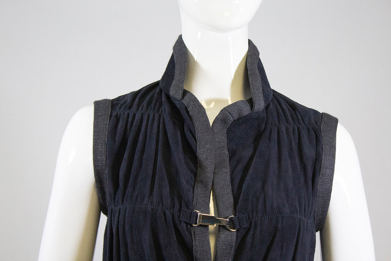 RANI ARABELLA Navy Blue Suede Gray Wool Cashmere Trim Sleeveless Vest Jacket M