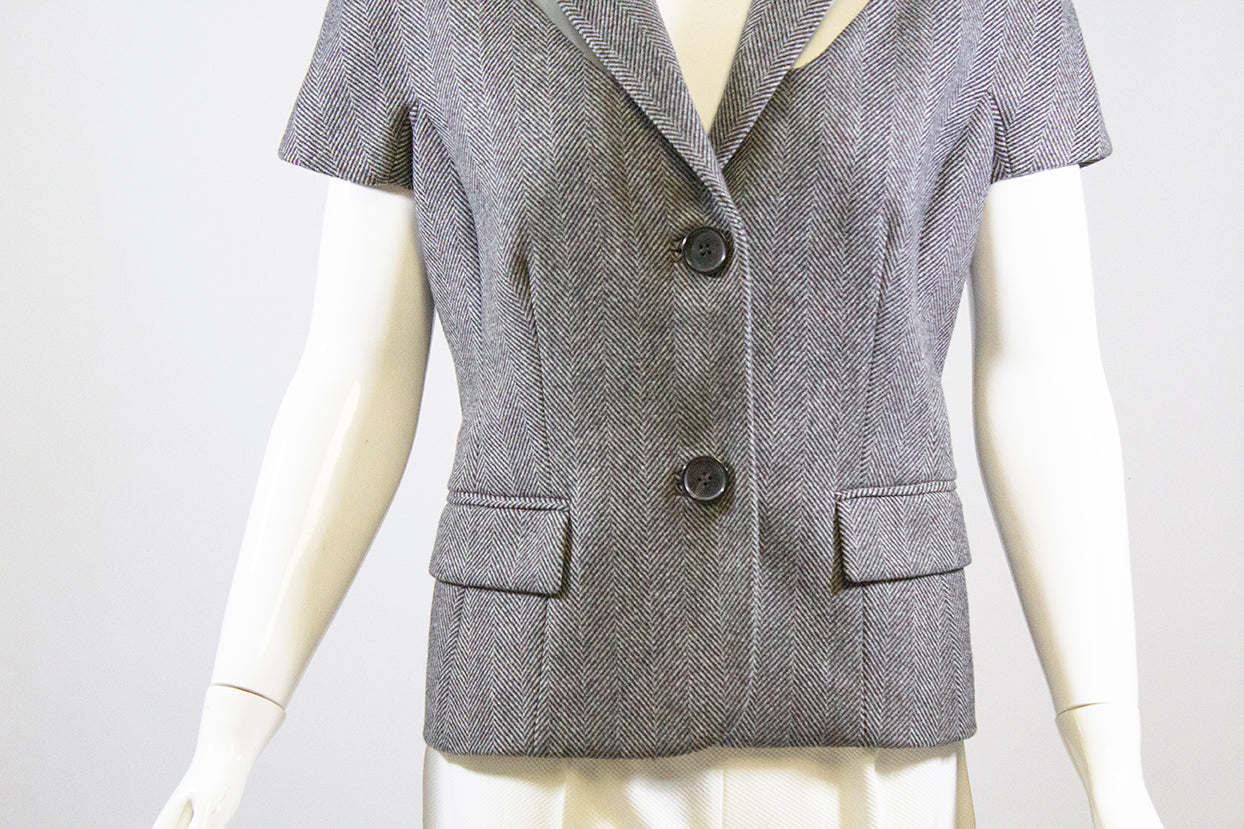 MICHAEL KORS Collection Gray Black Herringbone Banker Short Sleeve Vest Jacket 6