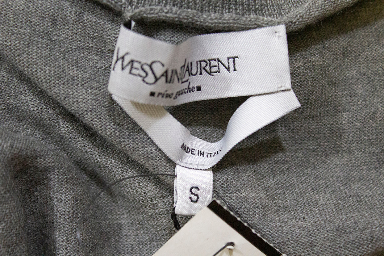 YVES SAINT LAURENT Gray Turtleneck Gold YSL Logo Cashmere Knit Sweater S $595