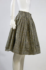PRADA Beige Tan Black Cheetah Leopard Print Pleated Waist Poly Silk Skirt IT 42