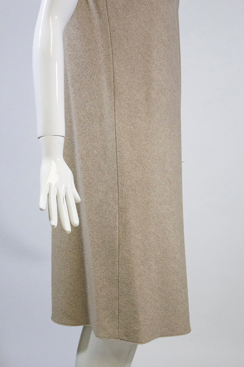 PETER COHEN Oatmeal Beige 100% Cashmere Sleeveless Turtleneck Sweater Dress S GC