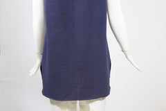 CHANEL 15P Slate Blue V Neck Hi-Lo Hem Sleeveless Cotton Knit Sweater Vest FR 42