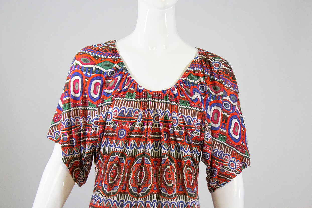 JEAN PAUL GAULTIER Soleil Red Multi Color Short Sleeve Jersey Viscose Dress IT L