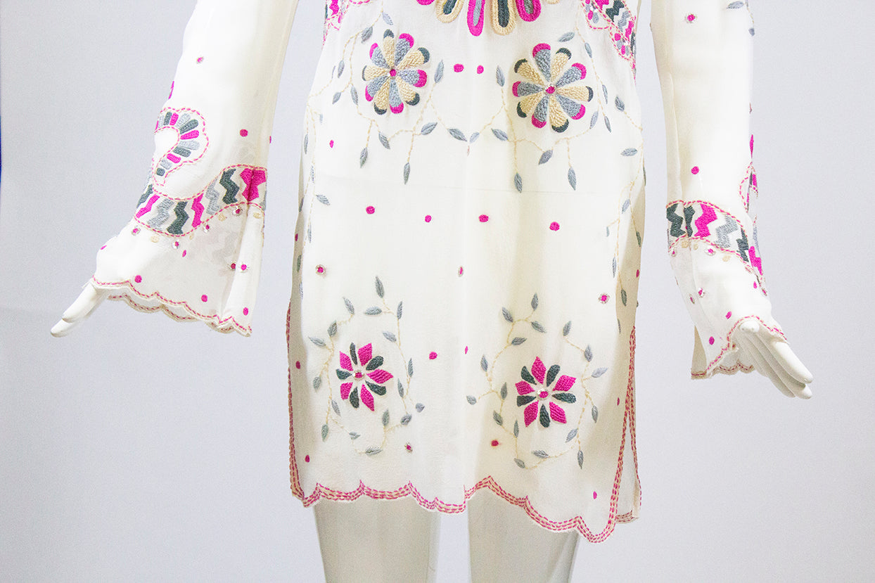 TEMPERLEY Ivory Embroidered V Neck Sheer Silk Tunic Dress Beach Cover Top UK10 6