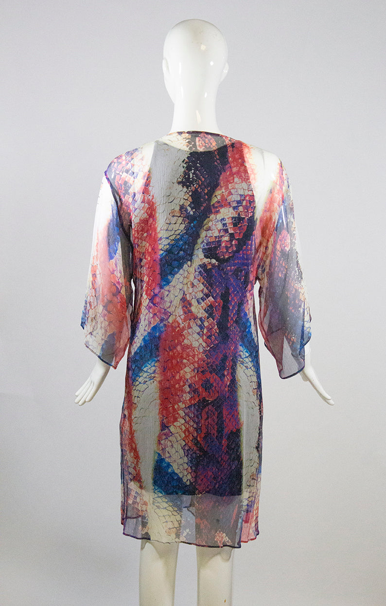 LA PERLA Semi Sheer Silk Snake Sequin V Neck Python Tunic Dress Swim Cover 42 6