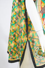 HERMES Green Multi Star Astrology Scarf Print Cotton Beach Cover Tunic Top 38 GC