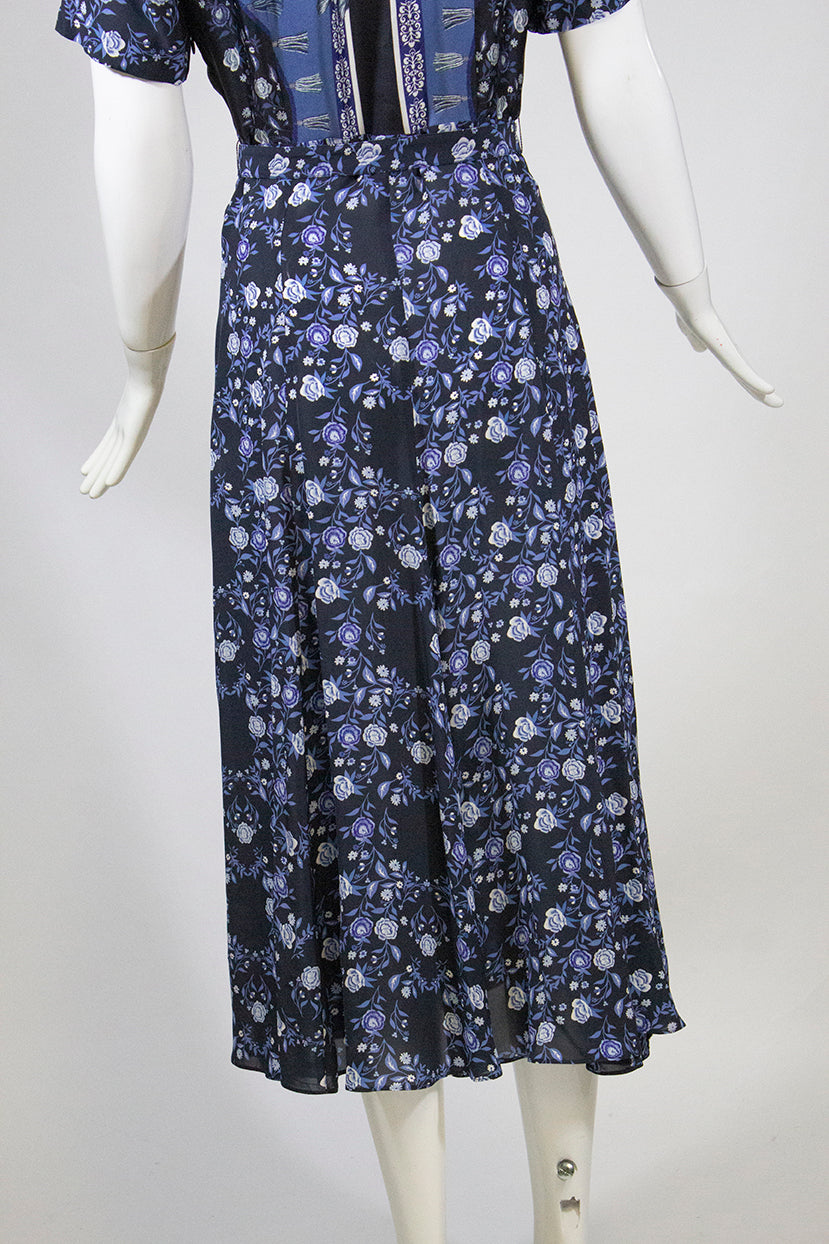 SANDRO Nour Mixed Print Blue Floral Short Sleeve Button Front Midi Dress 34 $545