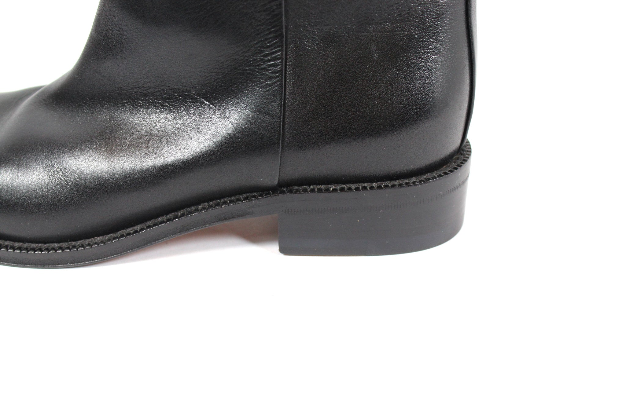 Celine Black Leather Slip On Boots (Size 37.5) - Encore Consignment - 5