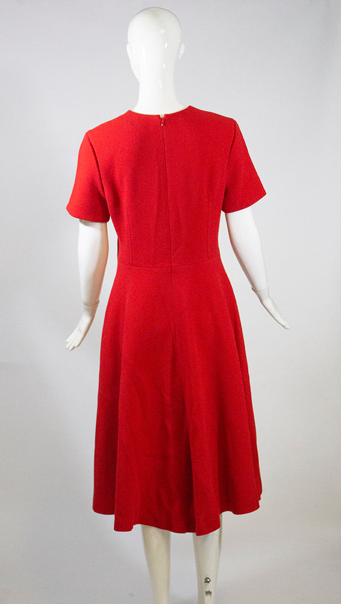 'Sold' CHRISTIAN DIOR 2017 Red 100% Virgin Wool Short Sleeve Flounce Hem Dress IT46 10