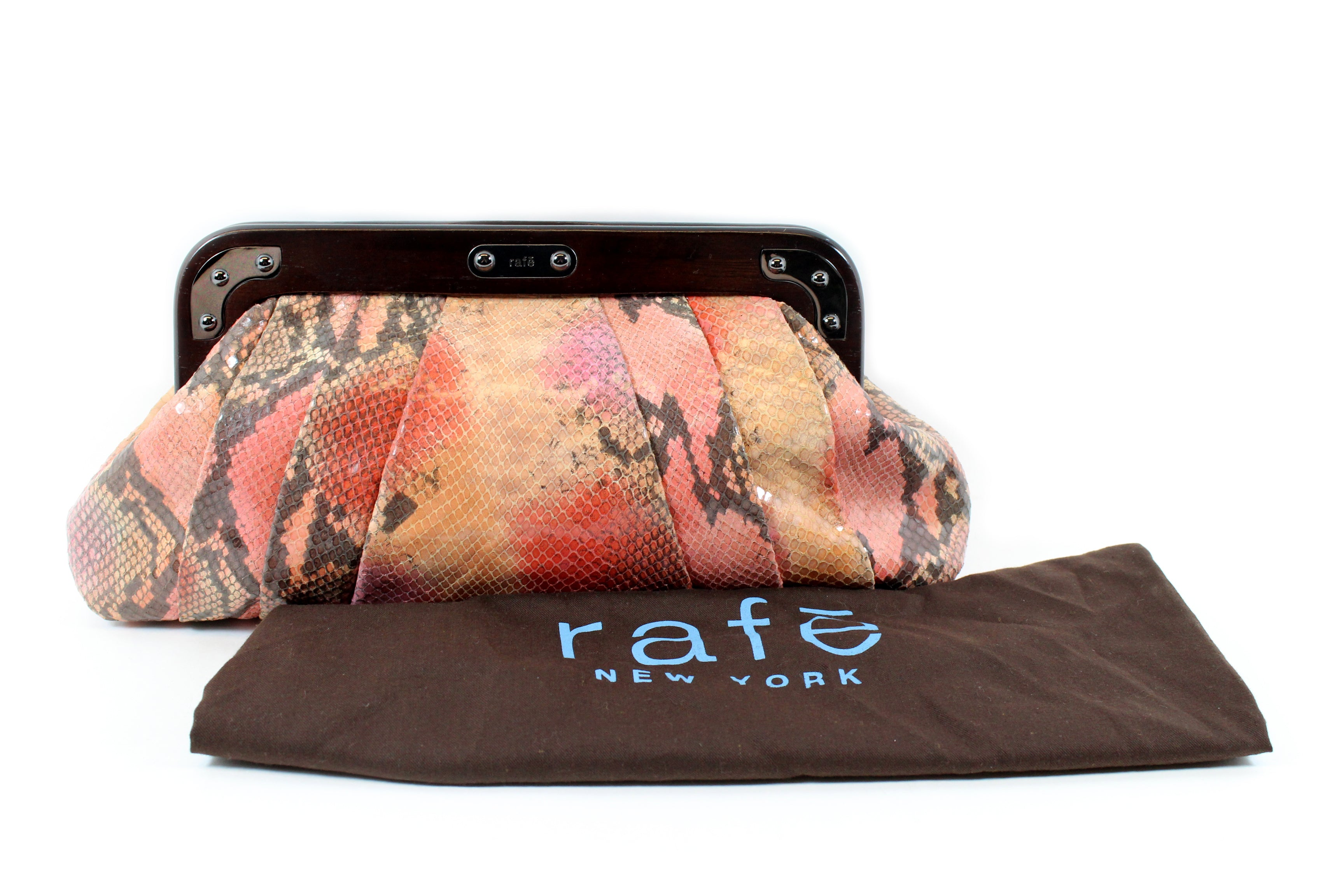 RAFE New York Pink Ombre Shaded Snakeskin Clutch