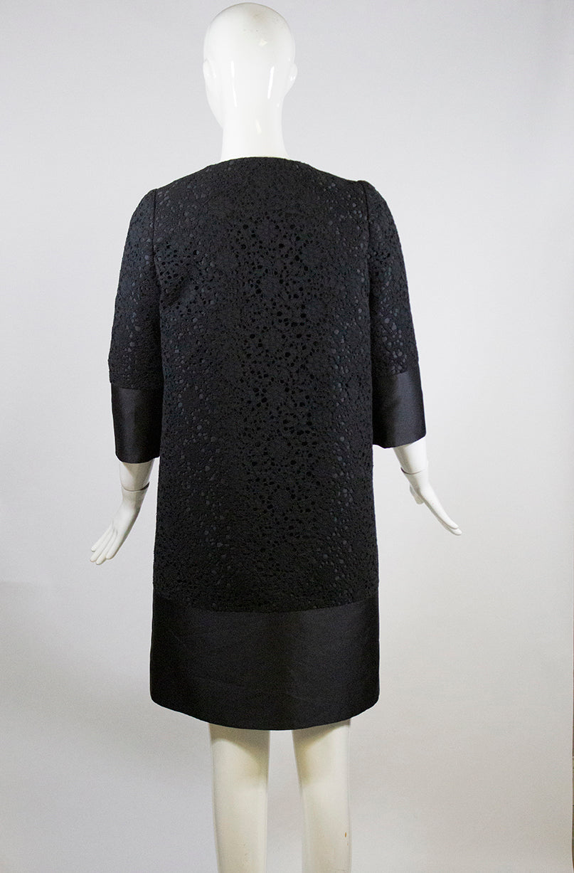 ERDEM Morgan Black Satin Twill Lace Overlay Short Sleeve Jacket Coat UK10 FR38 6