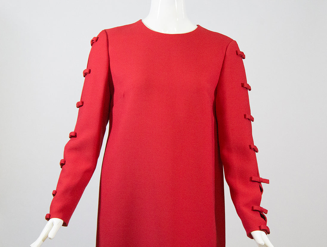 'Sold' VALENTINO Red Bow Accented Cut Out Long Sleeve Wool Silk Shift Dress Italy M