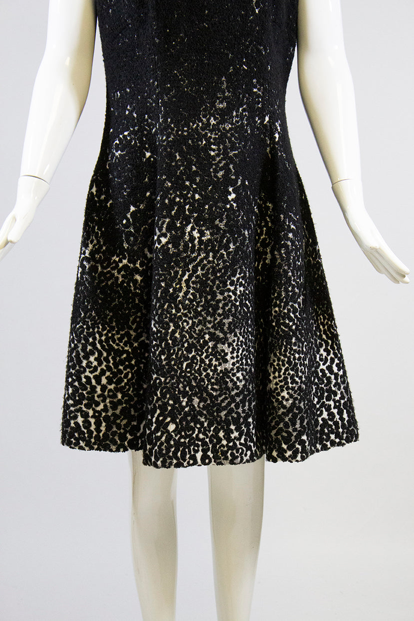HELLESSY Black White Dot Print Boucle Sleeveless Fit and Flare Skater Dress 8