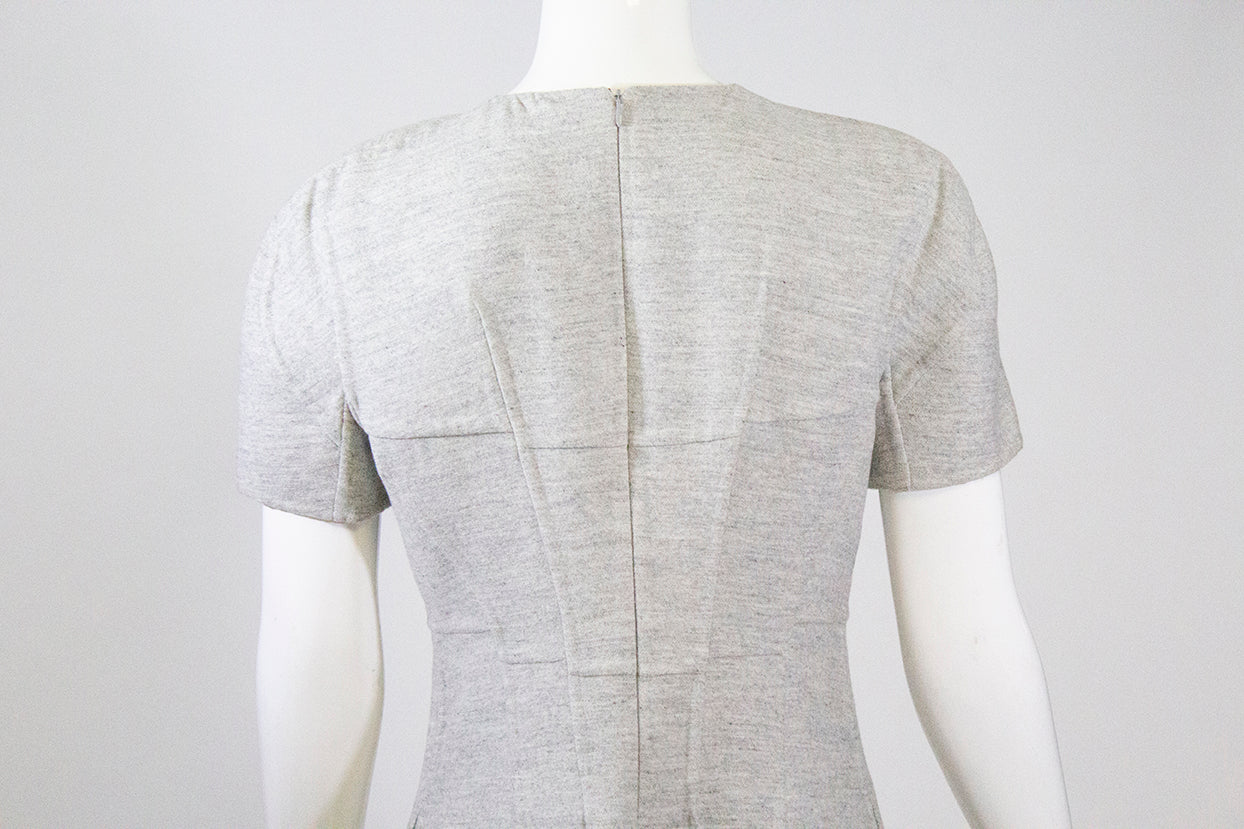 JIL SANDER Heather Gray Paneled Cap Short Sleeve Fleece Wool Angora Dress FR 36