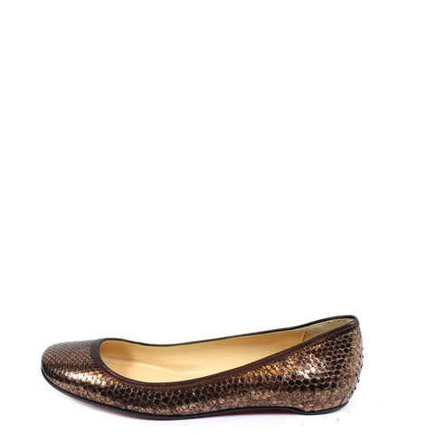 Christian Louboutin Copper Snakeskin Flats (Size 37.5) - Encore Consignment - 1