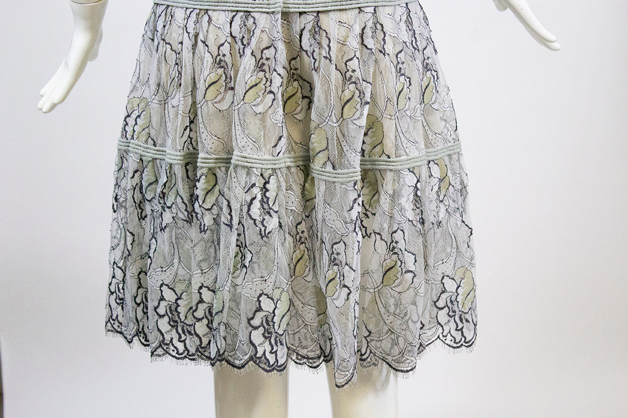 CHANEL 06C Gray Blue Mint Black White Floral Lace Scalloped Fringe Skirt S 34 36