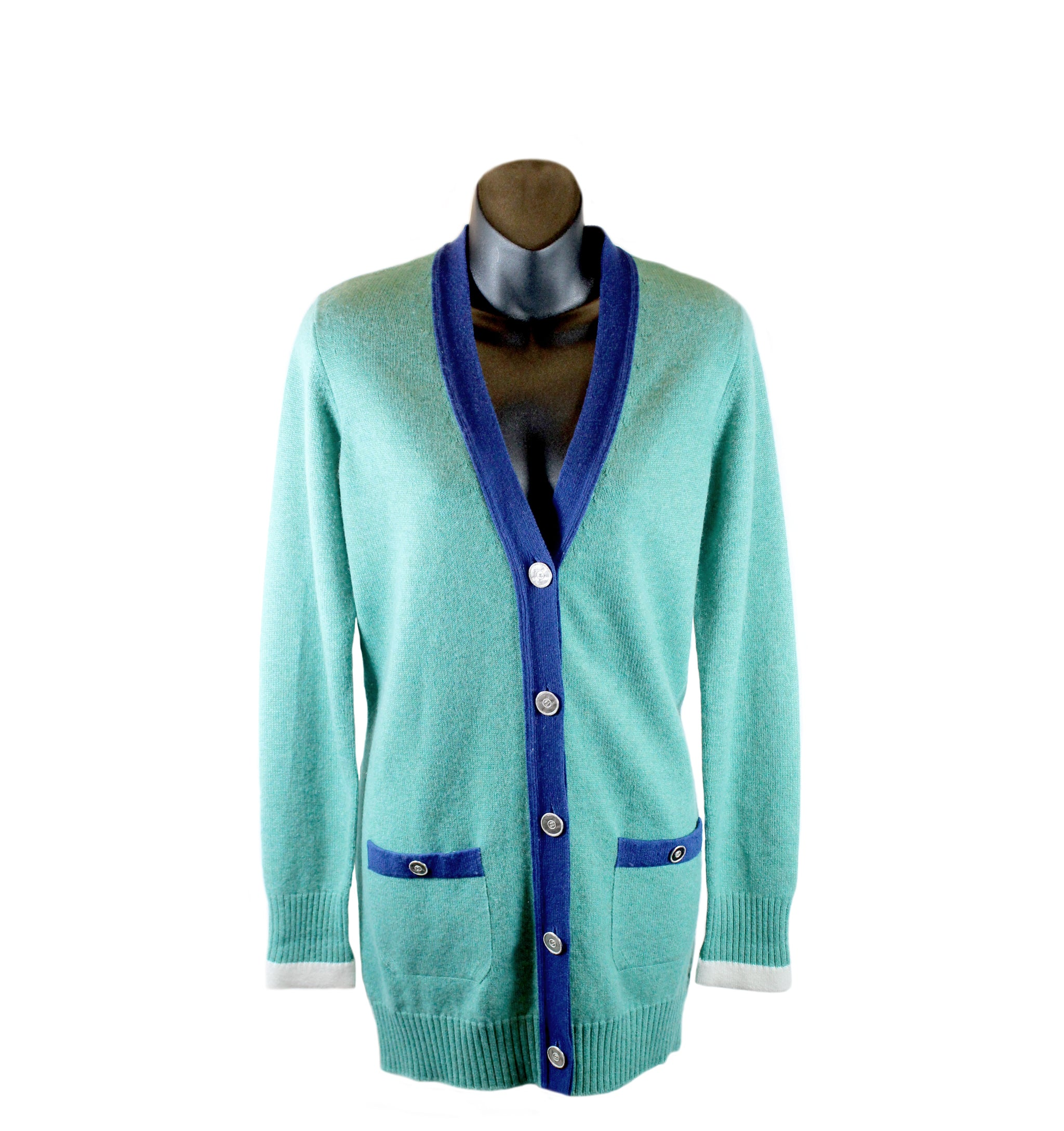 Chanel Teal Cashmere Button-Up Cardigan (Size 36)