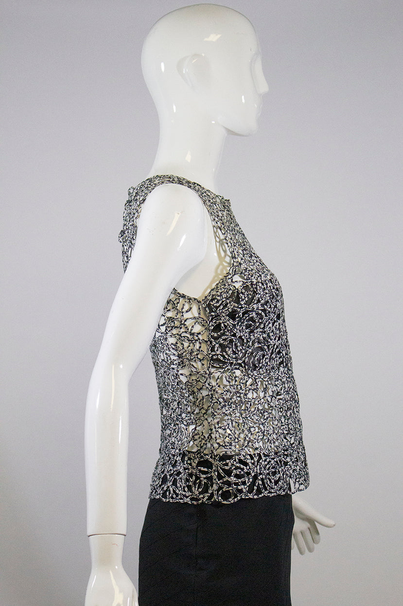 CHANEL09P Black White Woven Cotton Open Knit Mesh Underlay Sleeveless Top S 36