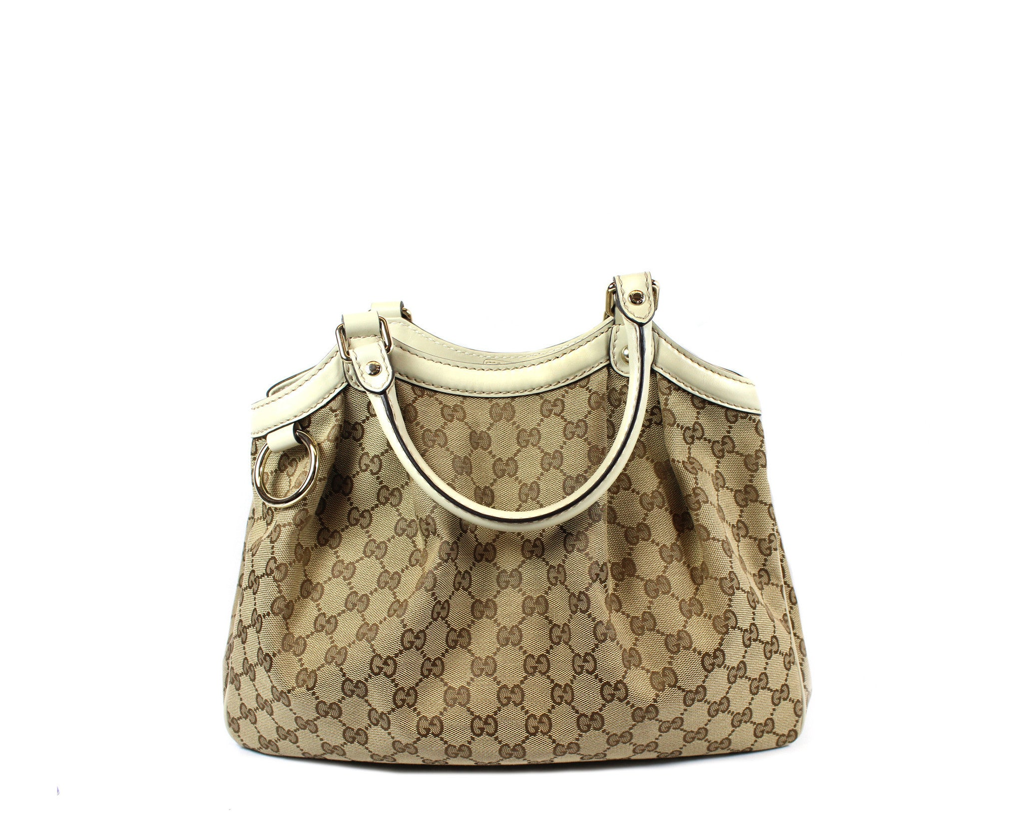 'SOLD' Gucci 'Sukey' GG Canvas and Ivory Leather Tote - Encore Consignment - 2