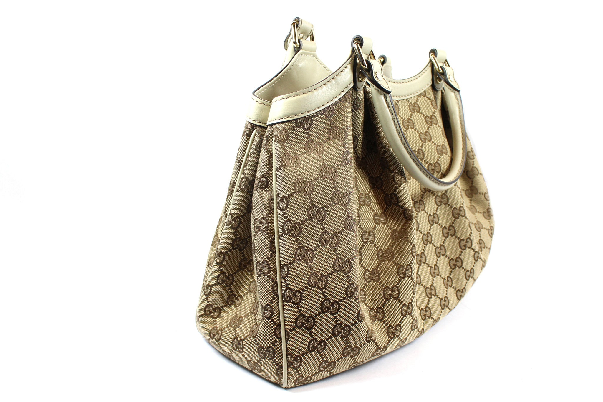 'SOLD' Gucci 'Sukey' GG Canvas and Ivory Leather Tote - Encore Consignment - 3