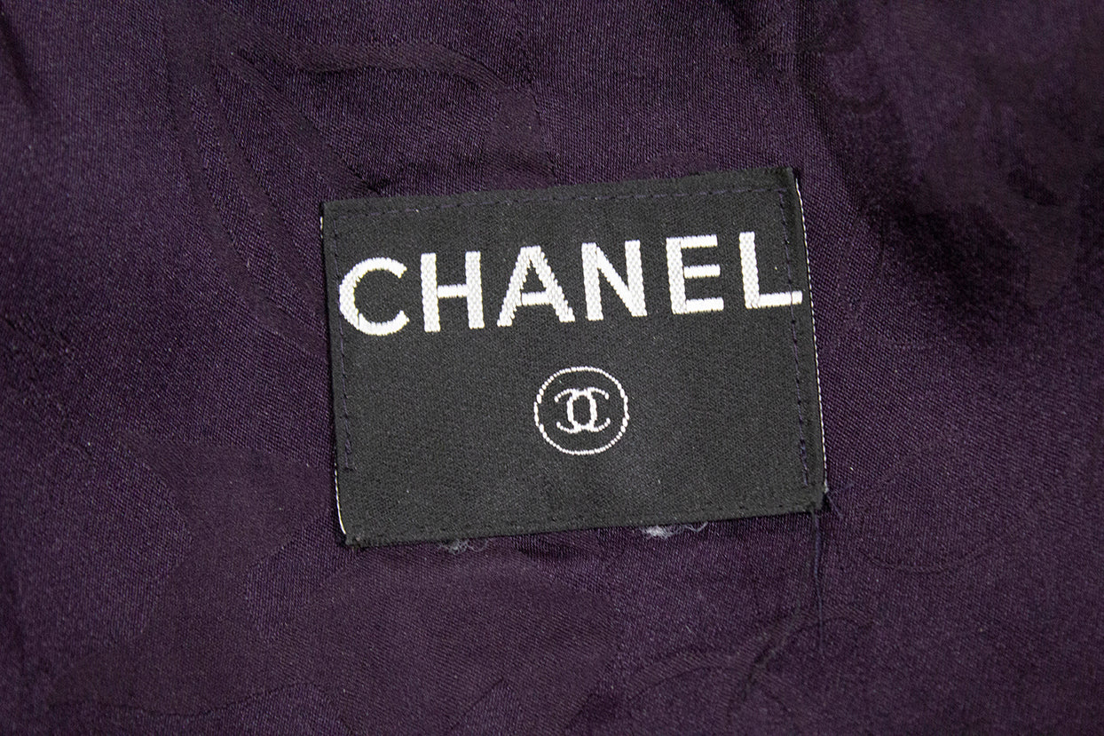 'Sold' CHANEL Purple Navy Black Metallic Tweed Double Breasted Fringe Jacket XS S 32 34