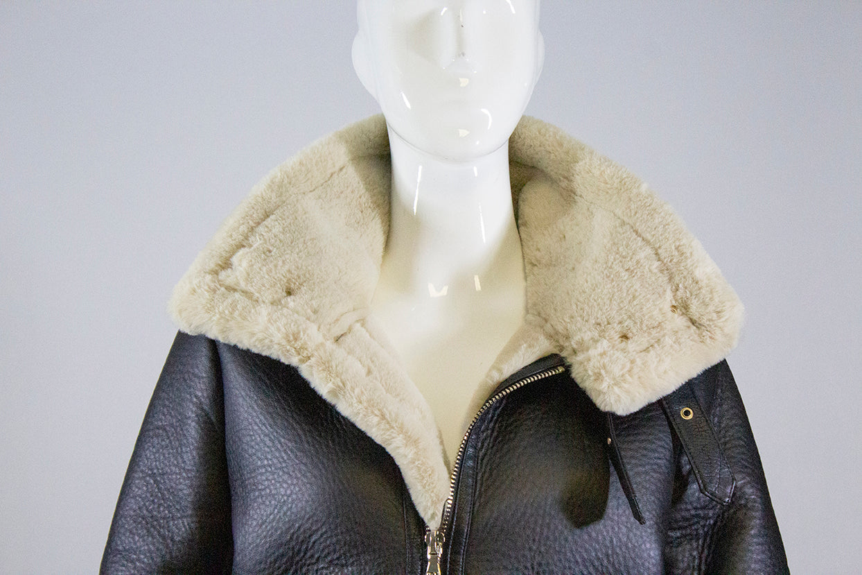 ZARA Woman Black Faux Leather Beige Shearling Aviator Zip Front Jacket M $149