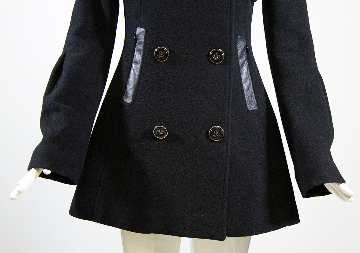 'Sold' MACKAGE Black Wool Blend Double Breasted Leather Trimmed Pea Coat Jacket S P GUC