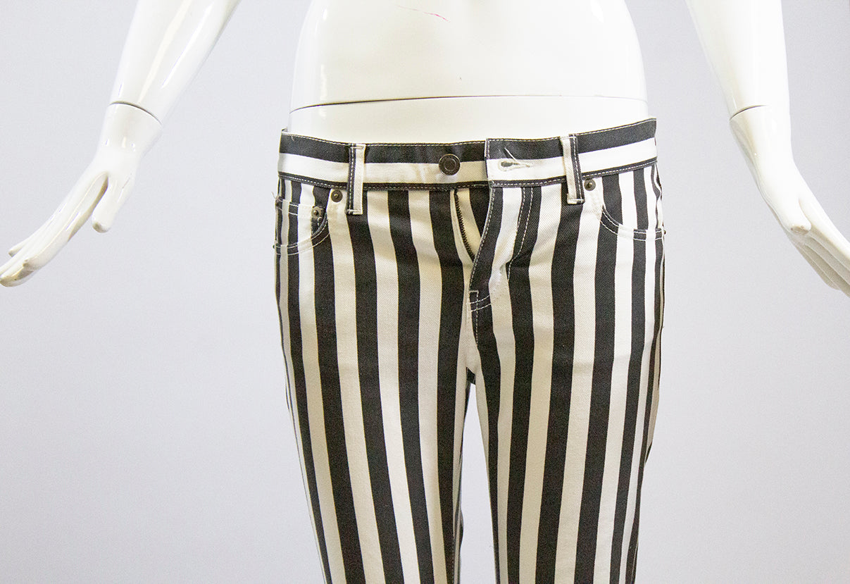 SAINT LAURENT D01 2013 Black Off White Striped Skinny Jeans YSL Sz 28 Altered
