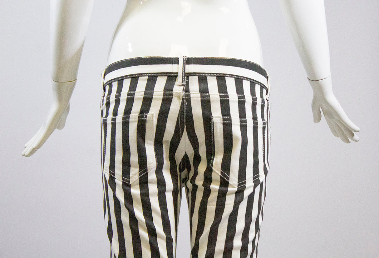 'Sold' SAINT LAURENT D01 2013 Black Off White Striped Skinny Jeans YSL Sz 28 Altered