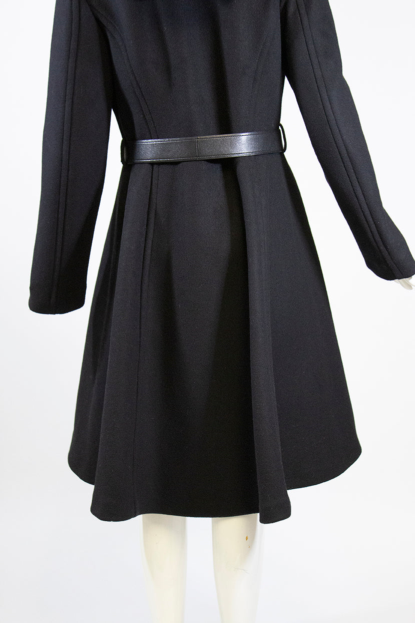 PRADA Black Wool Cashmere Blend Snap Front Lamb Leather Belt Hooded Coat IT 44