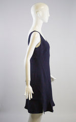 CHRISTIAN DIOR 2015 Navy Blue Wool Sleeveless Flounce Hem Mini Dress S M F38 6 8
