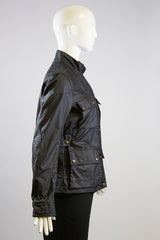 BELSTAFF W. Sammy Miller Black Waxed Cotton Zip Front Snap Pocket Jacket IT 40