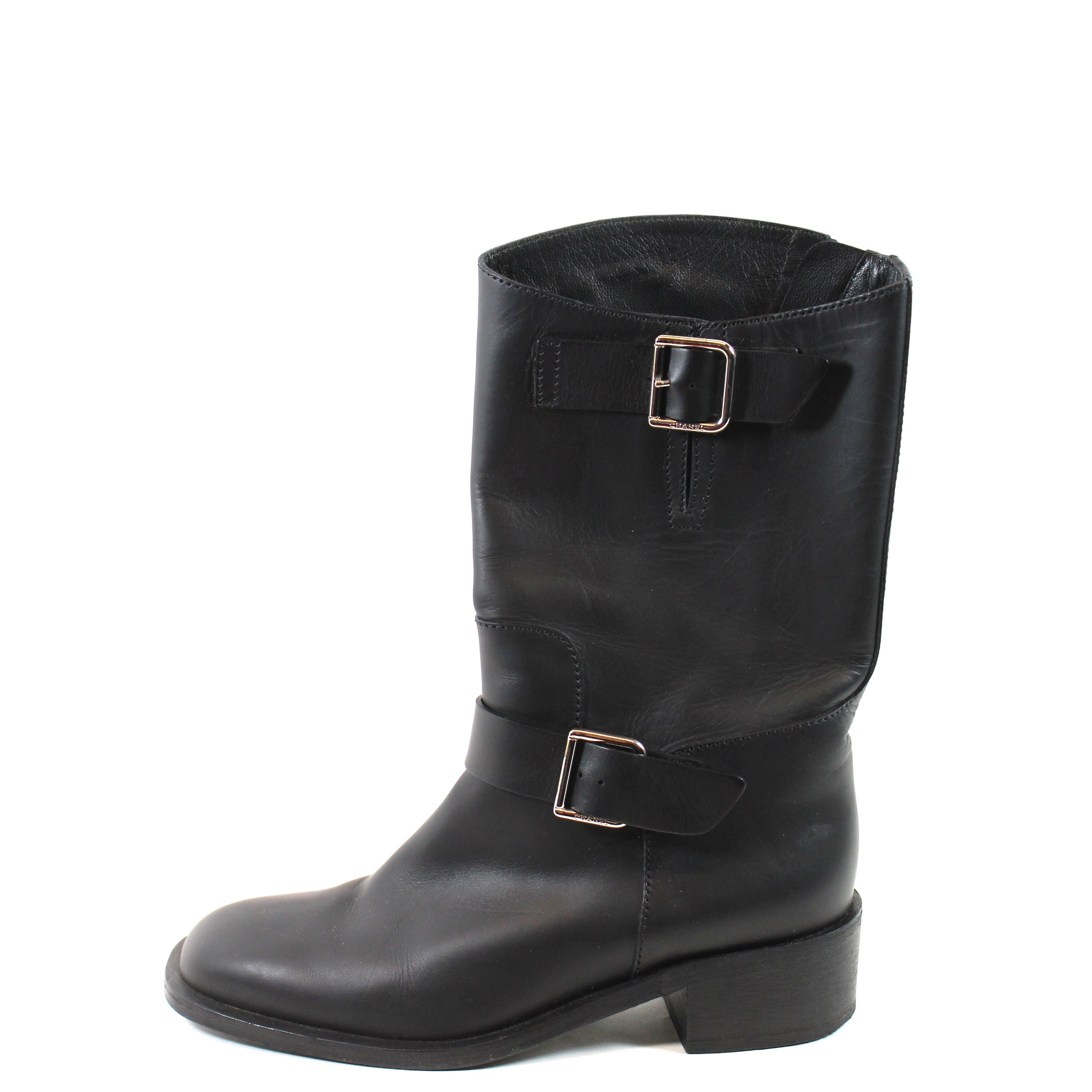 fe6d80999be9d Chanel Black Leather Buckled Boots - G27805 (Size 38.5) – Encore Consignment