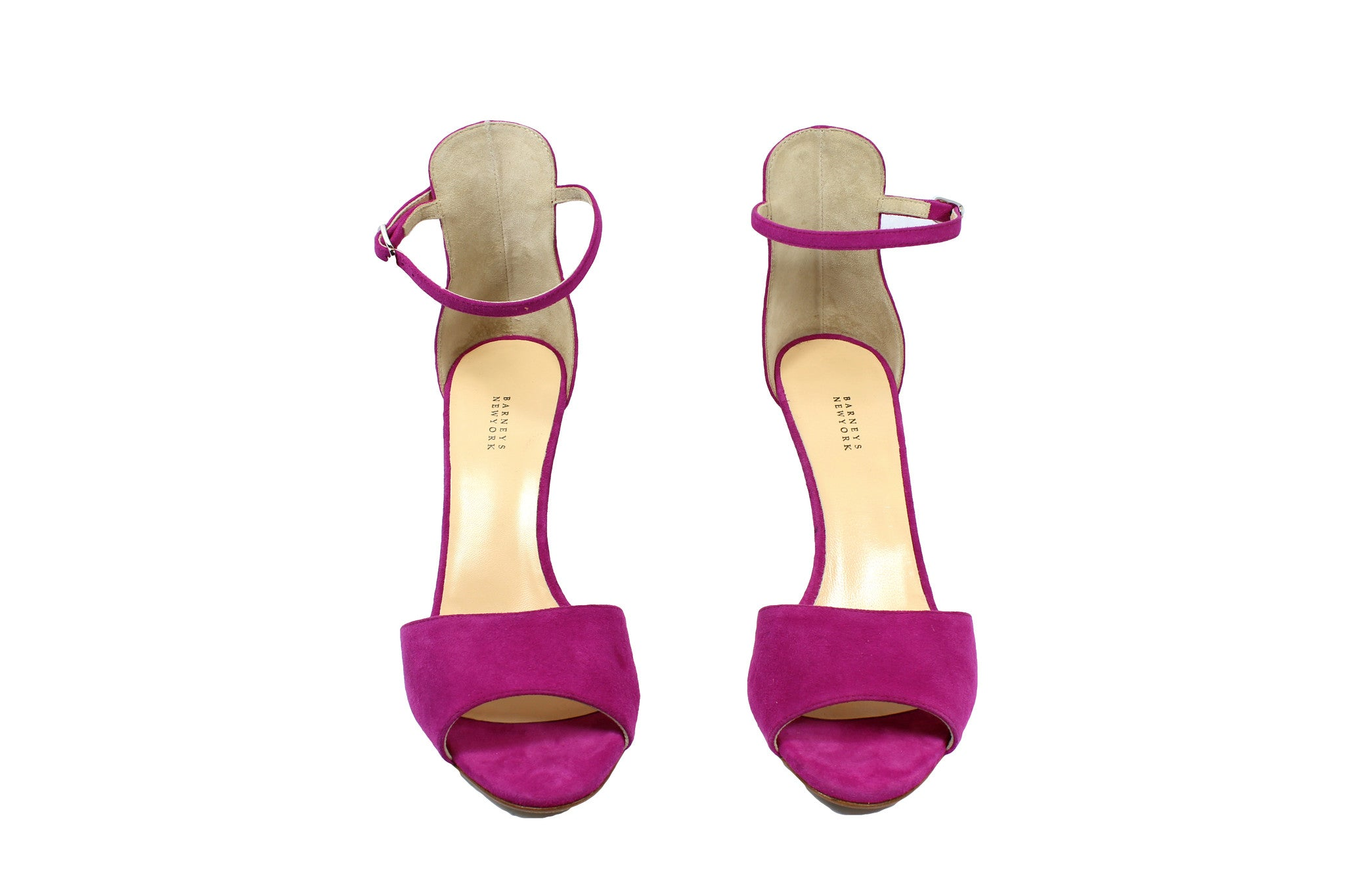 Barneys New York Fuchsia Suede Ankle Strap Sandals (Size 38.5) - Encore Consignment - 2