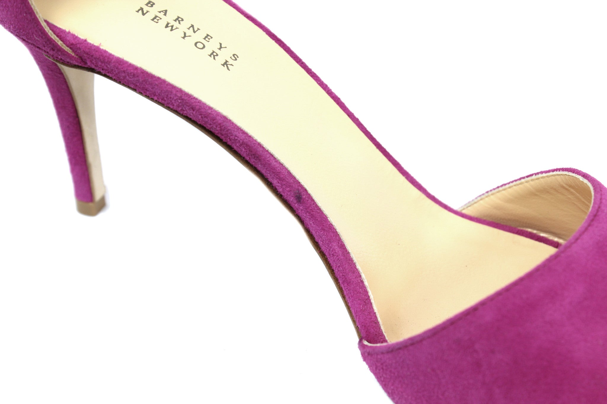 Barneys New York Fuchsia Suede Ankle Strap Sandals (Size 38.5) - Encore Consignment - 6
