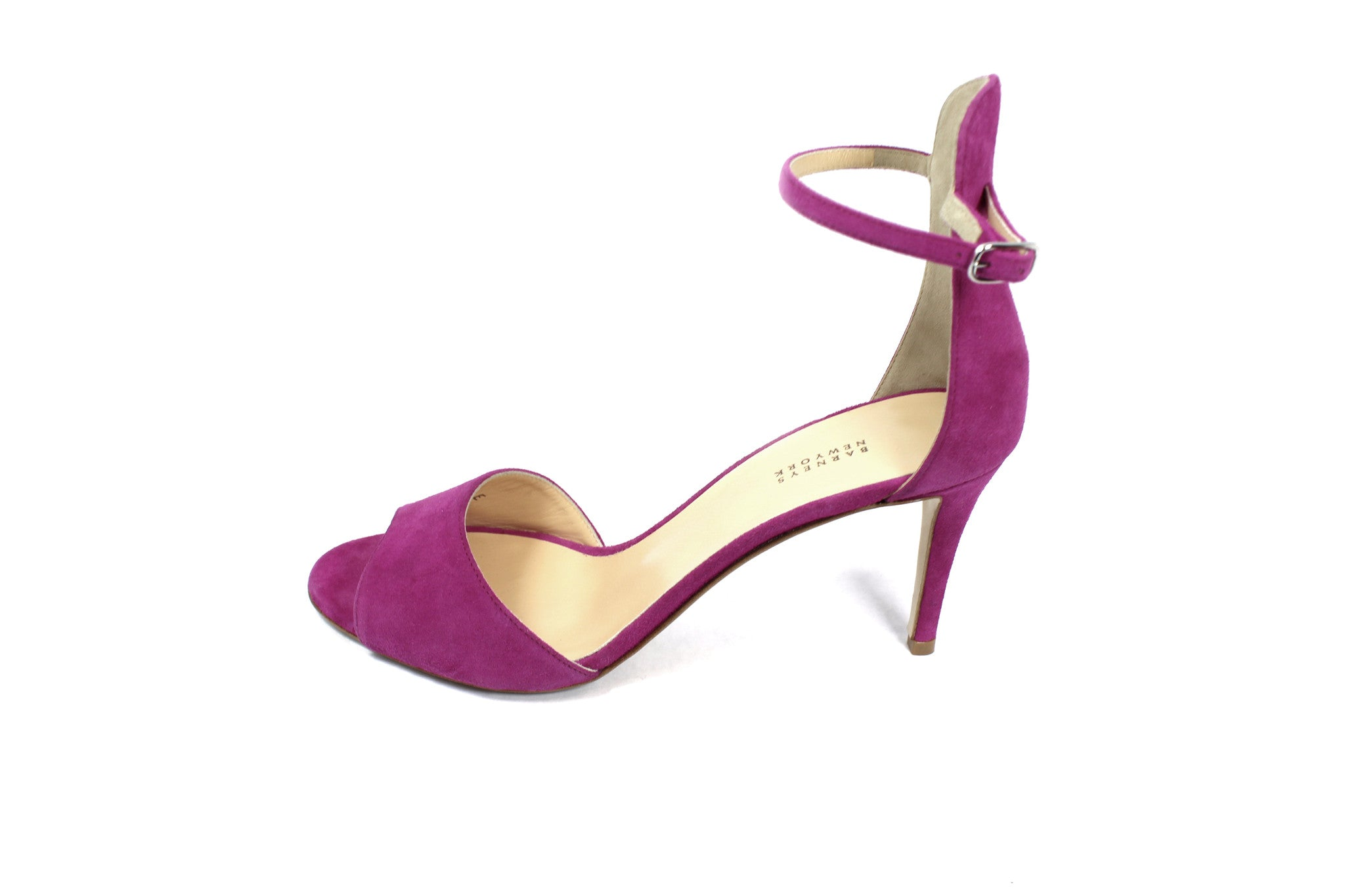 Barneys New York Fuchsia Suede Ankle Strap Sandals (Size 38.5) - Encore Consignment - 4