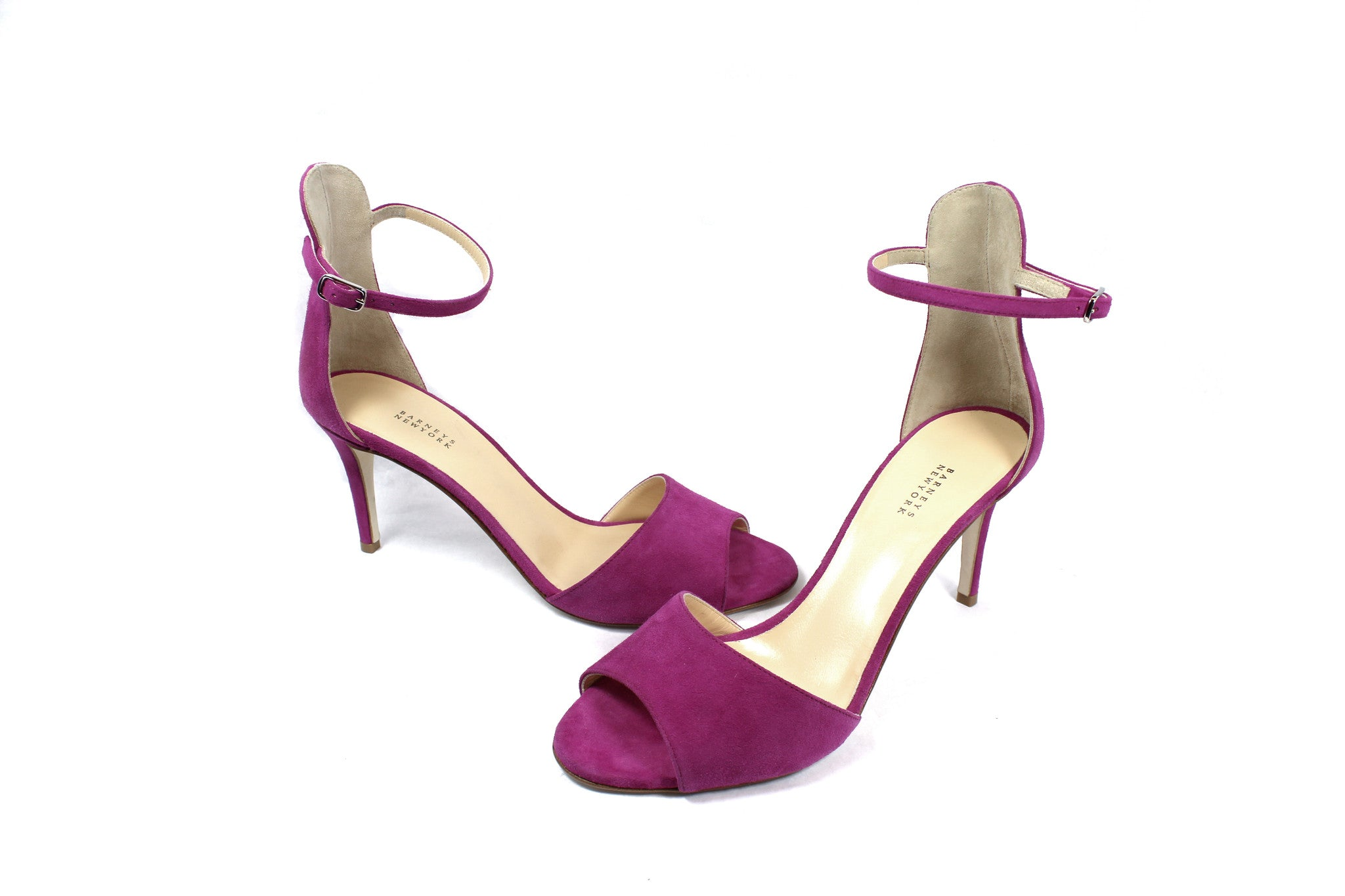Barneys New York Fuchsia Suede Ankle Strap Sandals (Size 38.5) - Encore Consignment - 1