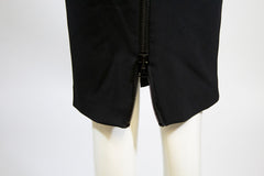 TOM FORD Black Oversize Back Zip Accented Viscose Blend Straight Pencil Skirt 38