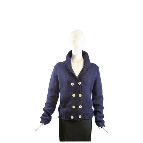 $1030 SONIA RYKIEL S16 Frayed Laser Cut Denim Blue Cotton Blazer Jacket FR 46GC