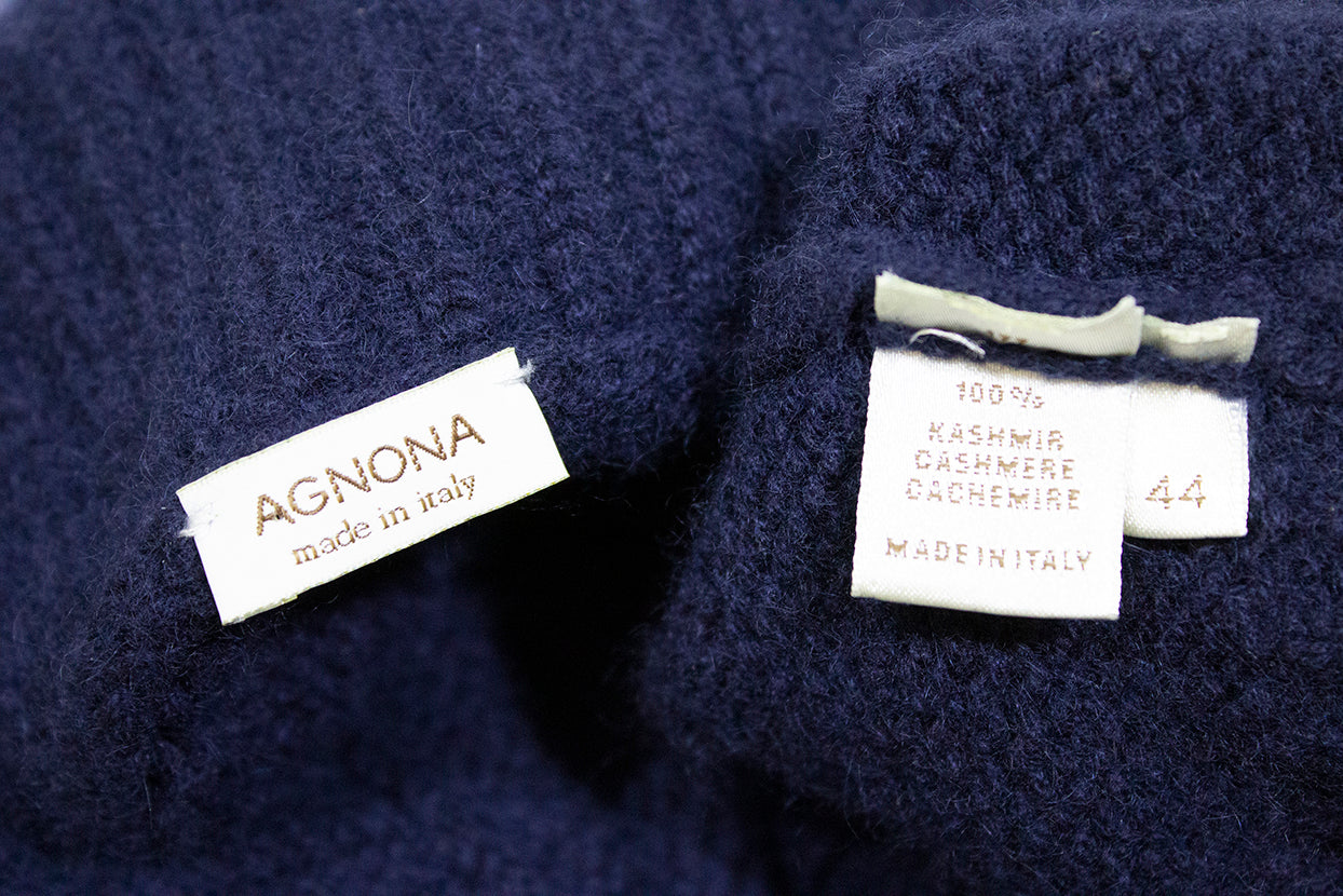 AGNONA Navy Blue Shawl Collar 100% Cashmere Knit Cardigan Sweater Jacket IT 44