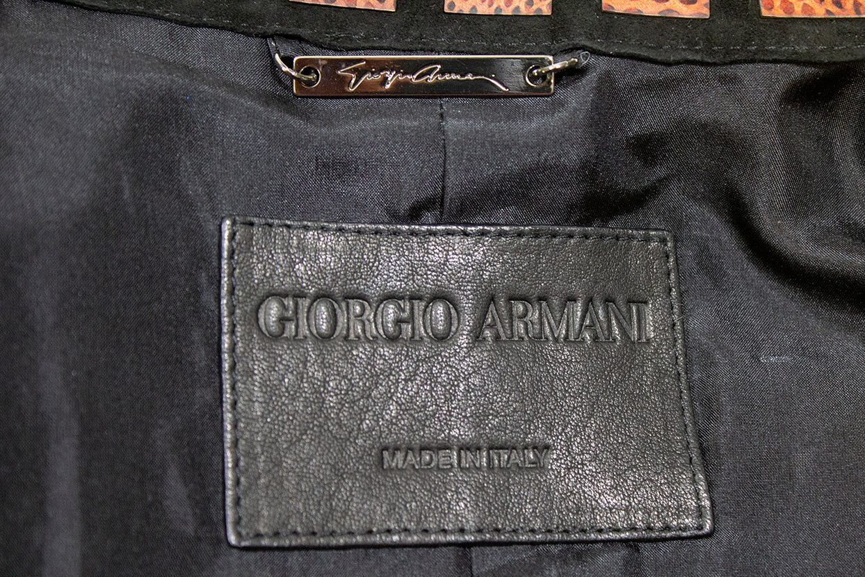 GIORGIO ARMANI Black Suede Multi Leather Cut Out Ribbed Velour Snap Jacket M 40